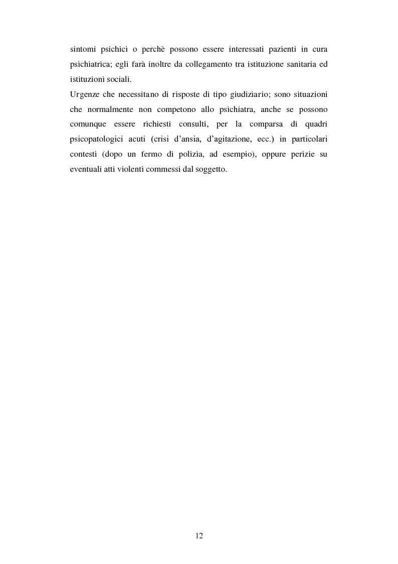 Anteprima della tesi: Le urgenze in psichiatria. Un'esperienza clinica basata sulla valutazione dei patterns dell'aggressività e della gestione del comportamento aggressivo in urgenza, presso il S.P.D.C. Ottonello., Pagina 10