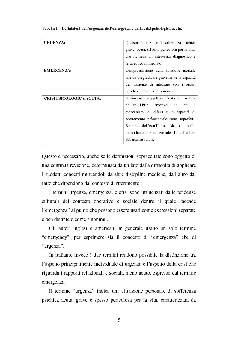 Anteprima della tesi: Le urgenze in psichiatria. Un'esperienza clinica basata sulla valutazione dei patterns dell'aggressività e della gestione del comportamento aggressivo in urgenza, presso il S.P.D.C. Ottonello., Pagina 3