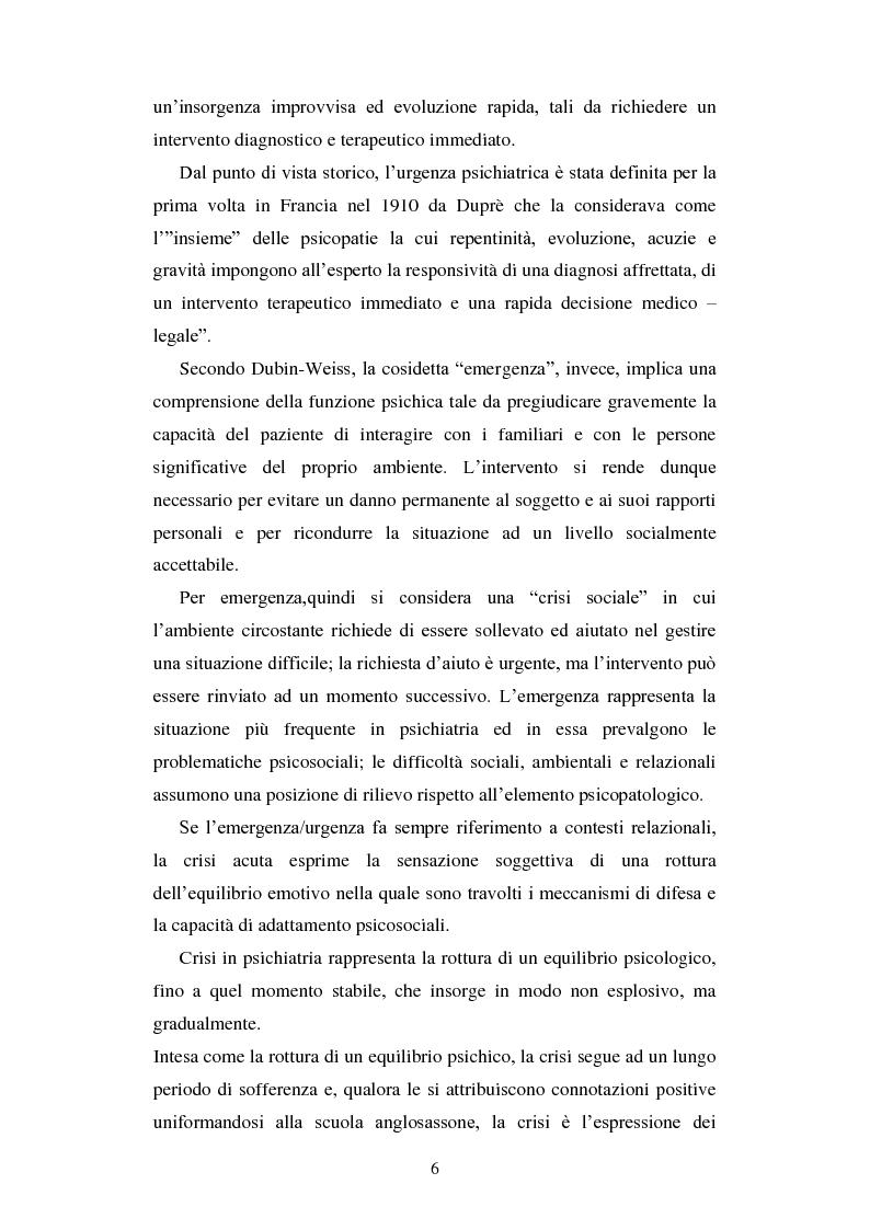 Anteprima della tesi: Le urgenze in psichiatria. Un'esperienza clinica basata sulla valutazione dei patterns dell'aggressività e della gestione del comportamento aggressivo in urgenza, presso il S.P.D.C. Ottonello., Pagina 4