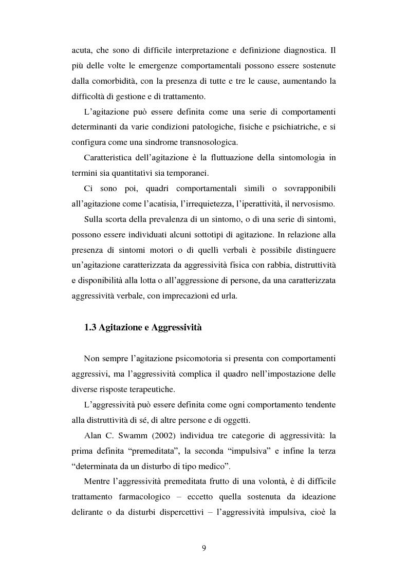 Anteprima della tesi: Le urgenze in psichiatria. Un'esperienza clinica basata sulla valutazione dei patterns dell'aggressività e della gestione del comportamento aggressivo in urgenza, presso il S.P.D.C. Ottonello., Pagina 7