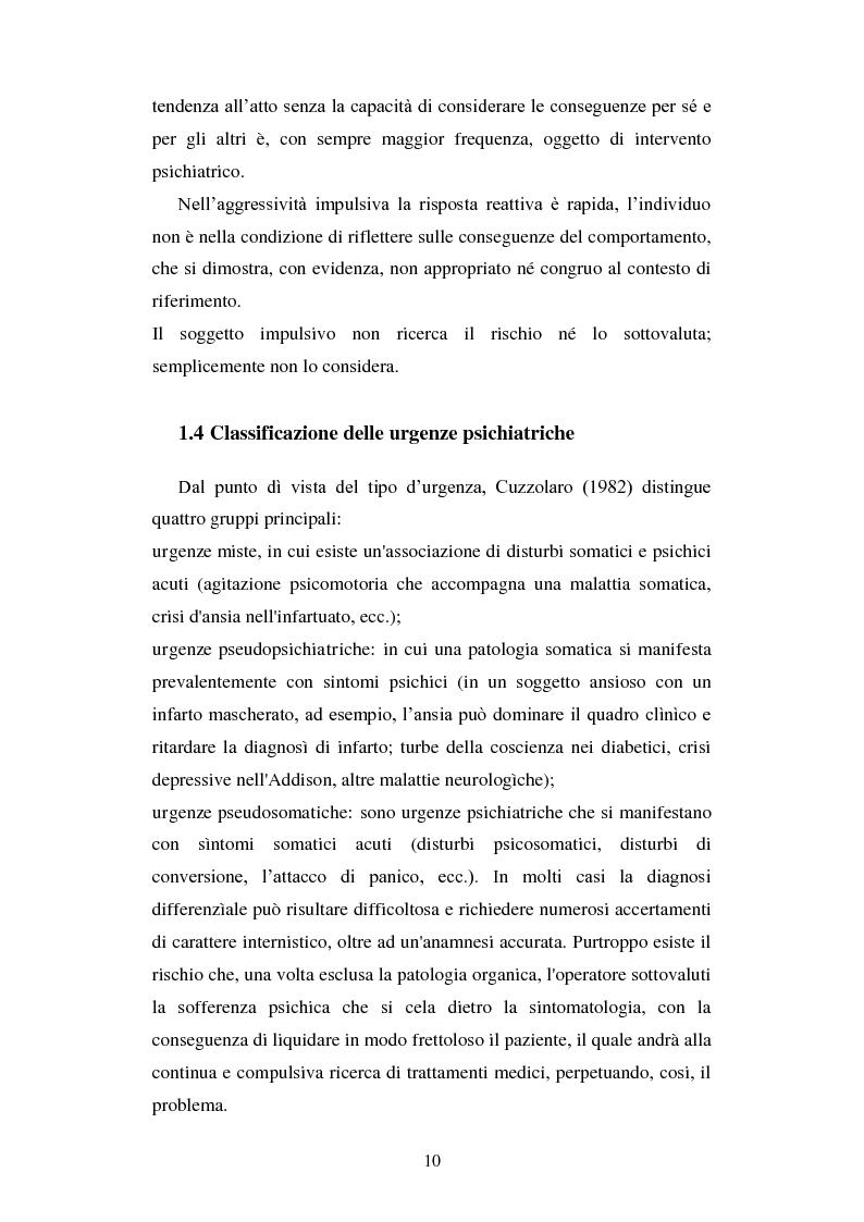 Anteprima della tesi: Le urgenze in psichiatria. Un'esperienza clinica basata sulla valutazione dei patterns dell'aggressività e della gestione del comportamento aggressivo in urgenza, presso il S.P.D.C. Ottonello., Pagina 8