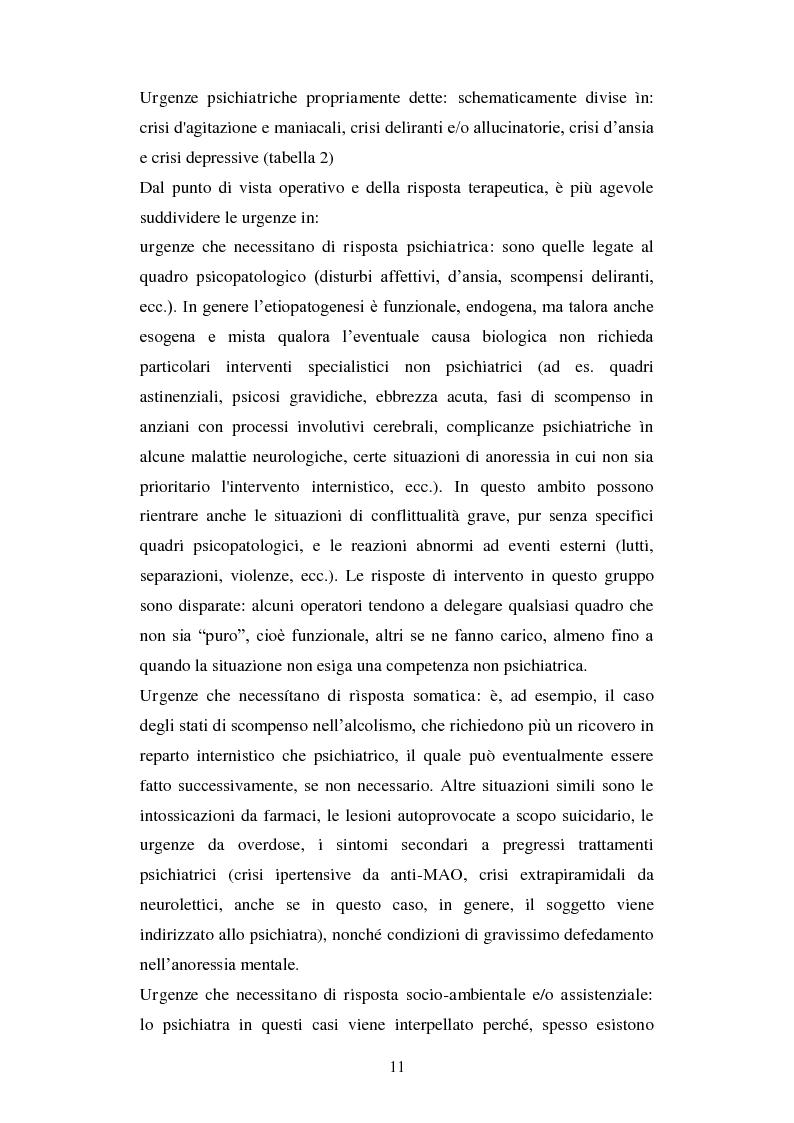 Anteprima della tesi: Le urgenze in psichiatria. Un'esperienza clinica basata sulla valutazione dei patterns dell'aggressività e della gestione del comportamento aggressivo in urgenza, presso il S.P.D.C. Ottonello., Pagina 9