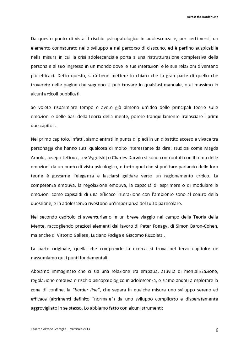 Anteprima della tesi: Across the Border Line. Teoria della mente e rischio psicopatologico in adolescenza: un contributo di ricerca, Pagina 3