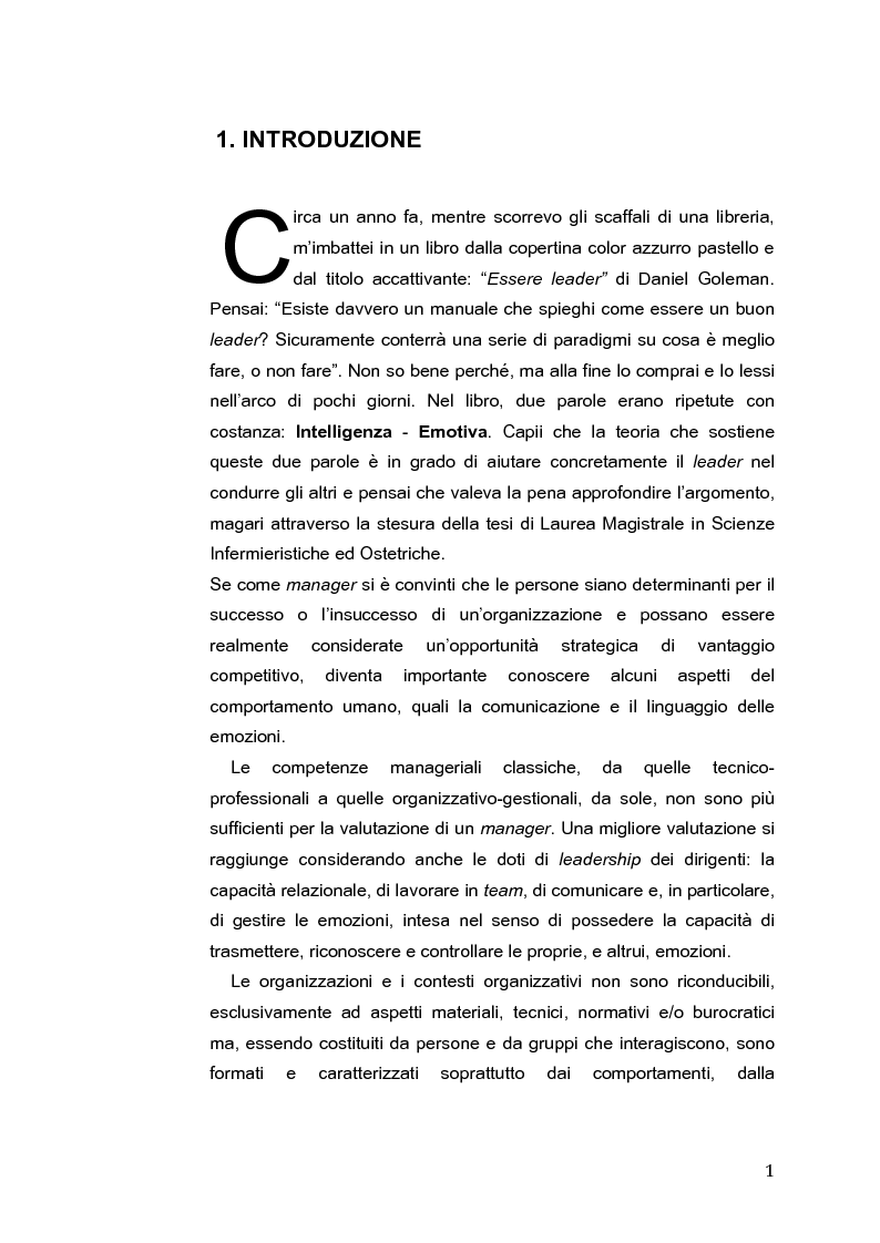 Anteprima della tesi: L'Intelligenza Emotiva come strumento per una leadership infermieristica d'eccellenza, Pagina 2