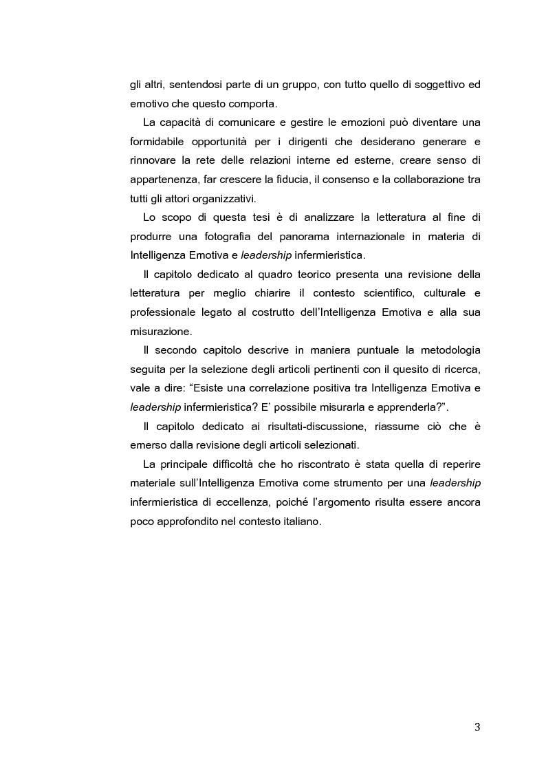 Anteprima della tesi: L'Intelligenza Emotiva come strumento per una leadership infermieristica d'eccellenza, Pagina 4