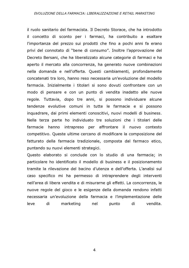 Anteprima della tesi: Evoluzione della farmacia: liberalizzazione e retail marketing, Pagina 3