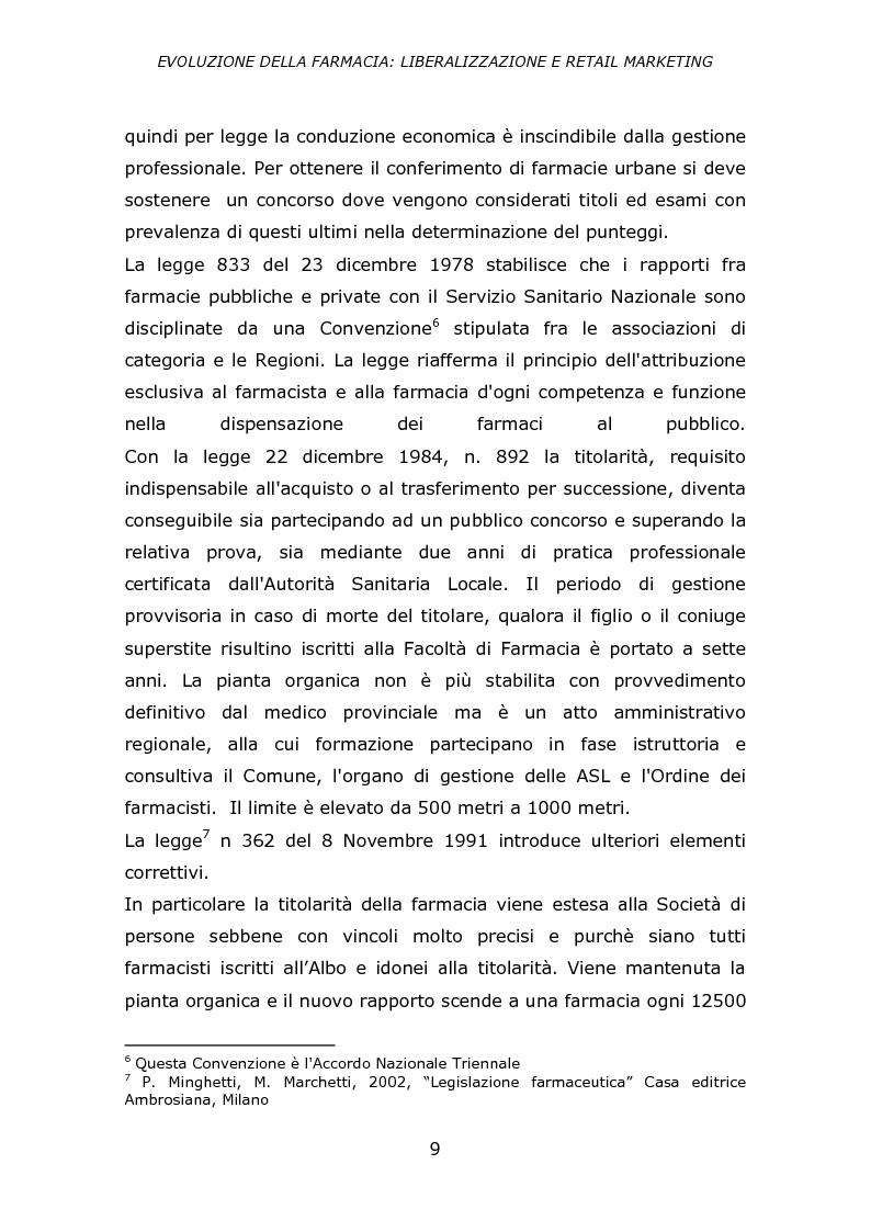 Anteprima della tesi: Evoluzione della farmacia: liberalizzazione e retail marketing, Pagina 8
