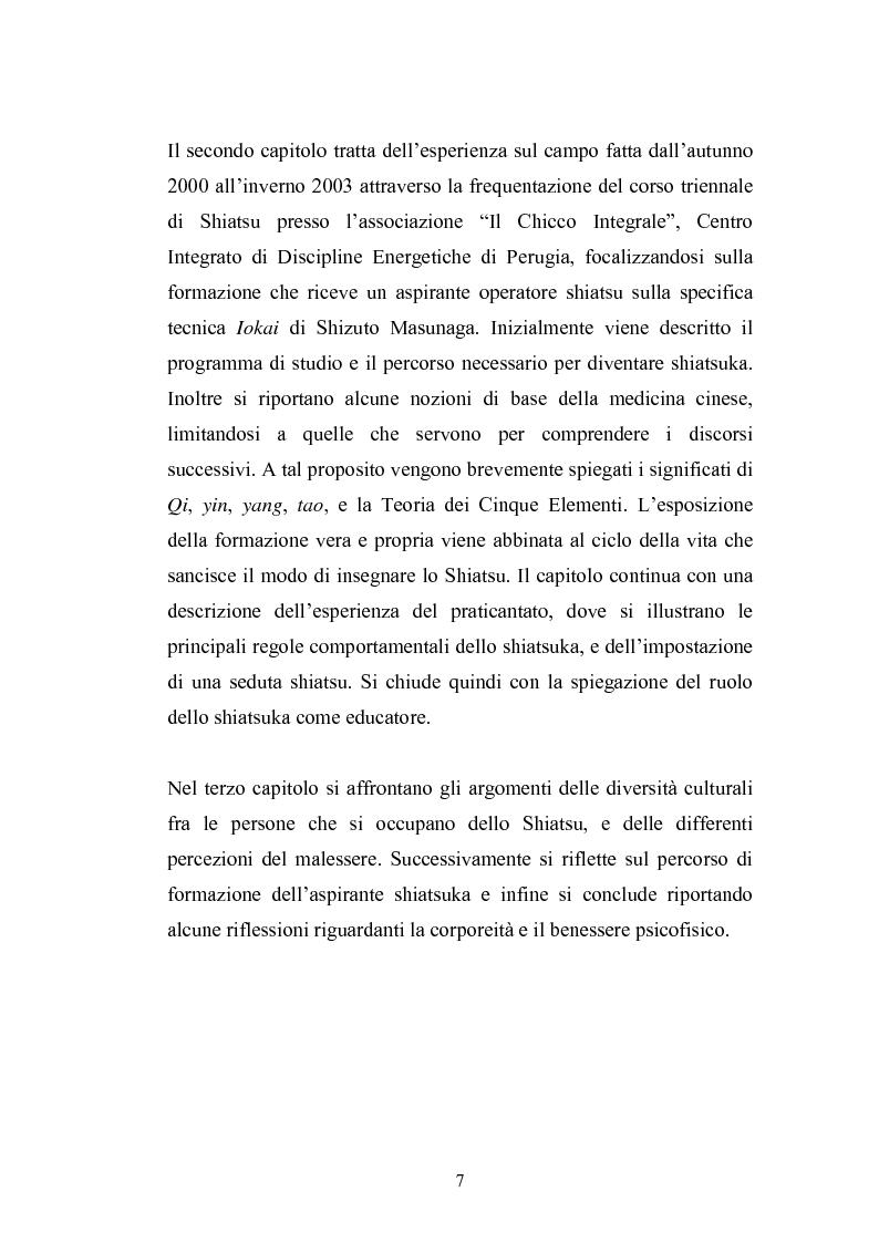 Anteprima della tesi: Concezioni della corporeità e del benessere psicofisico: esperienze di formazione di uno shiatsuka, Pagina 6