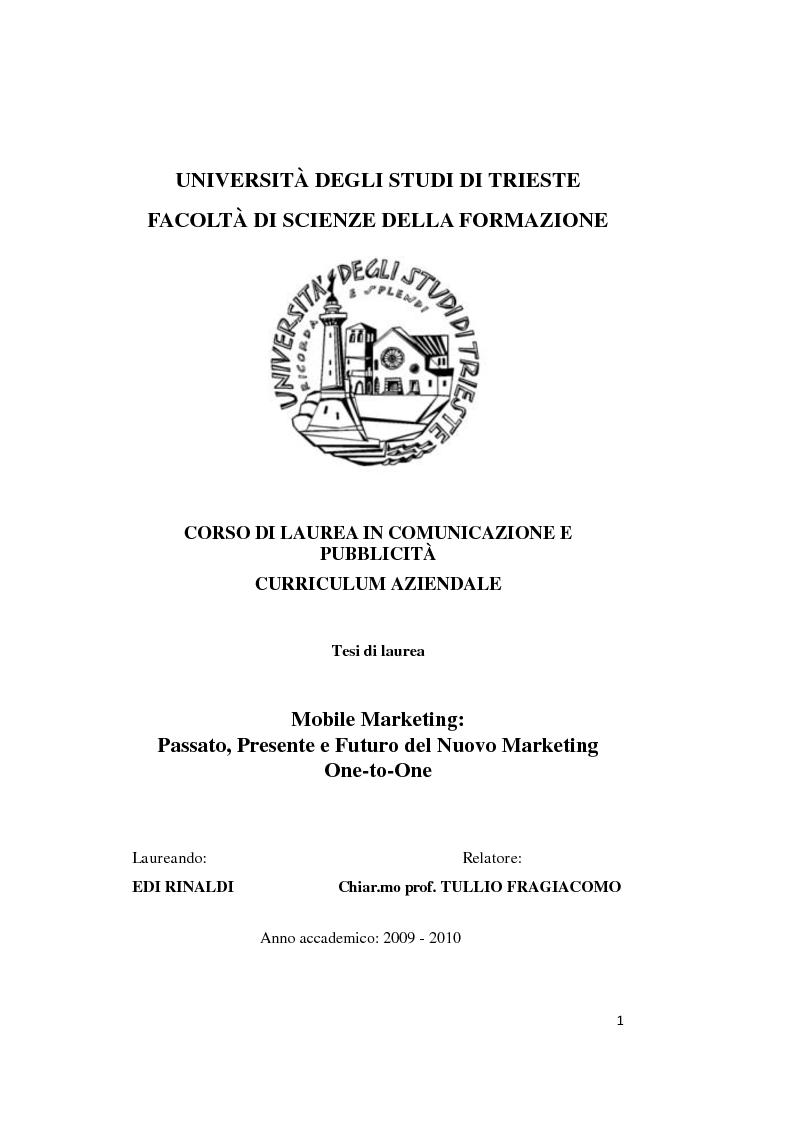 Anteprima della tesi: Mobile marketing. Passato, presente e futuro del nuovo marketing one to one, Pagina 1