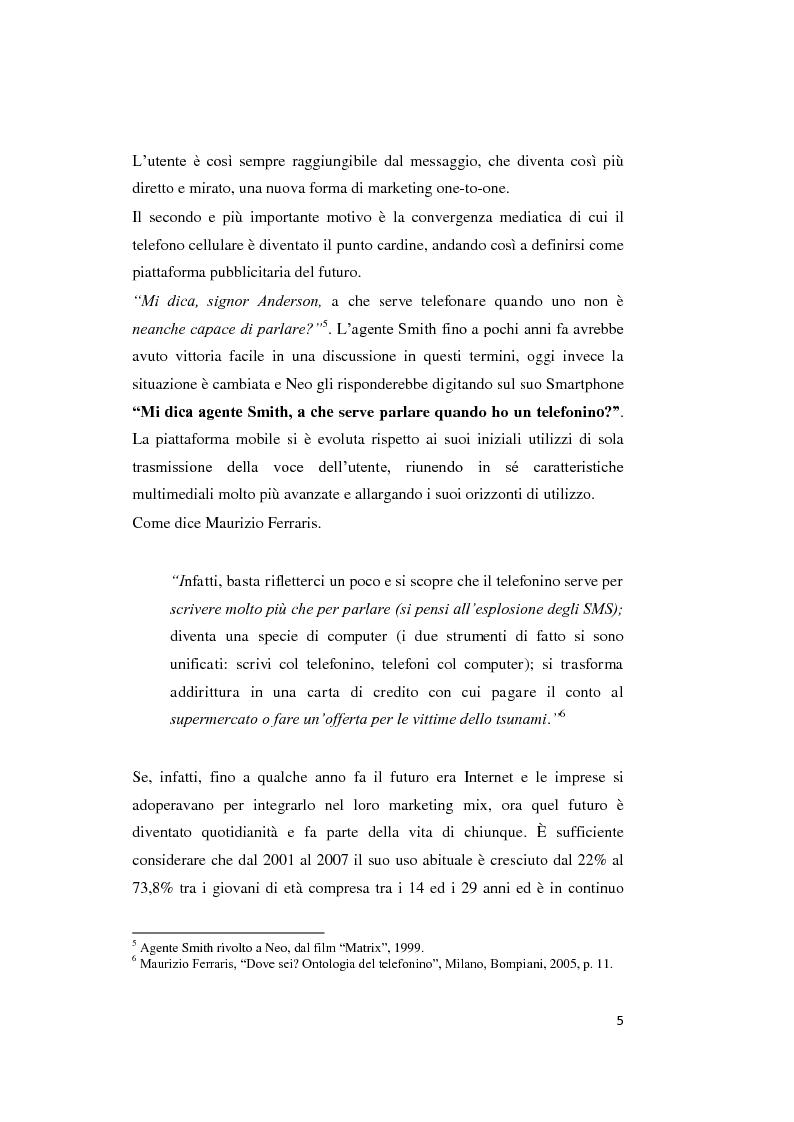 Anteprima della tesi: Mobile marketing. Passato, presente e futuro del nuovo marketing one to one, Pagina 4