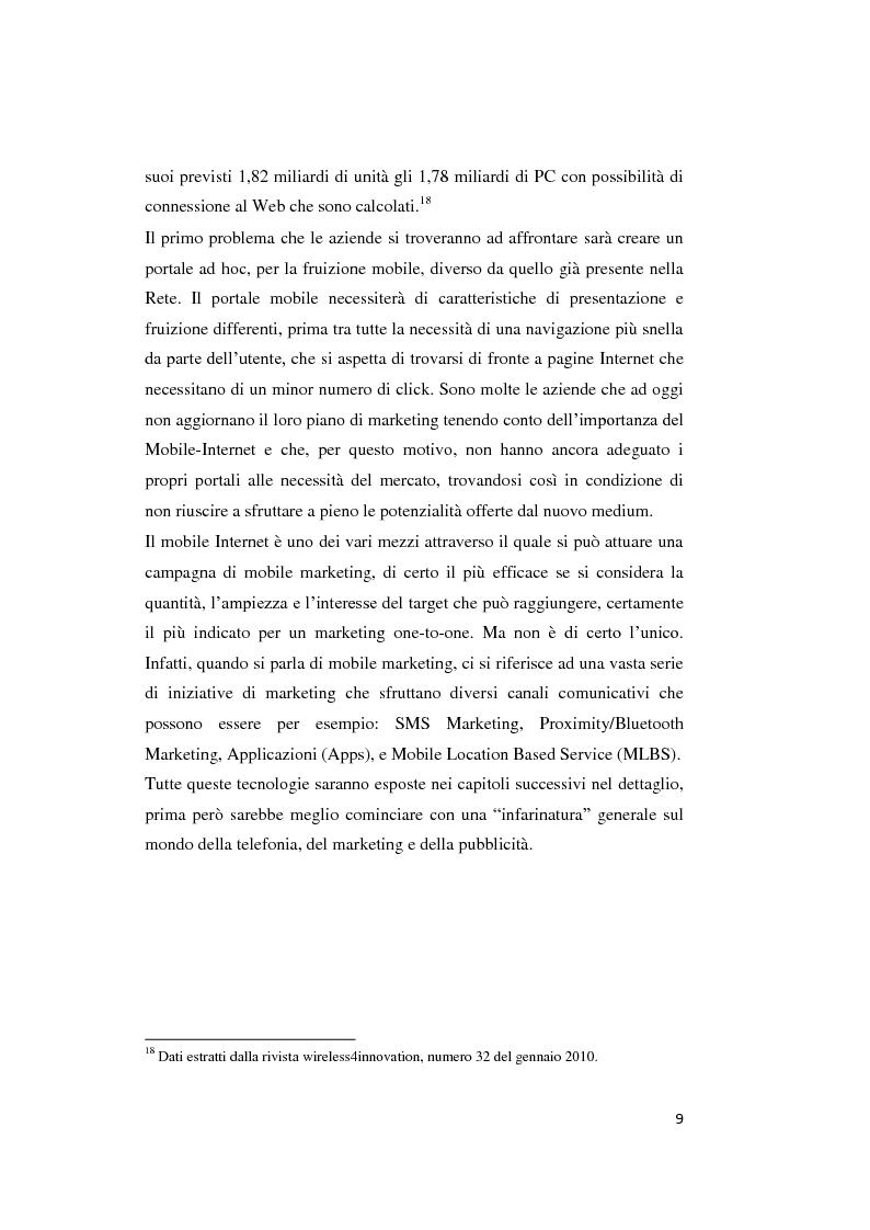 Anteprima della tesi: Mobile marketing. Passato, presente e futuro del nuovo marketing one to one, Pagina 8