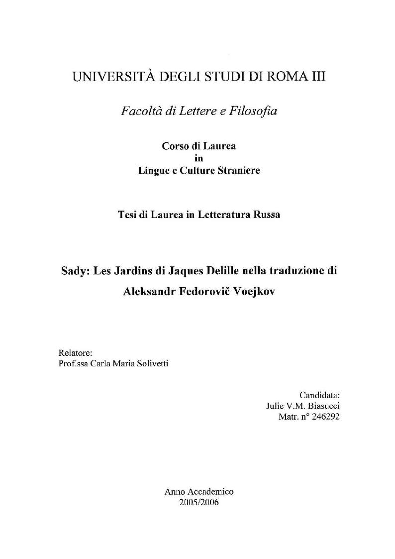 Anteprima della tesi: Sady: Les Jardins di Jacques Delille nella traduzione di Aleksandr Fedorovic Voejkov, Pagina 1