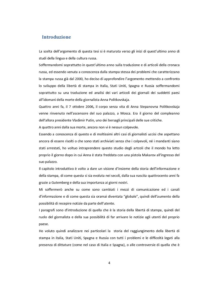 Anteprima della tesi: La libertà di stampa. Il caso di Anna Politkovskaja, Pagina 2