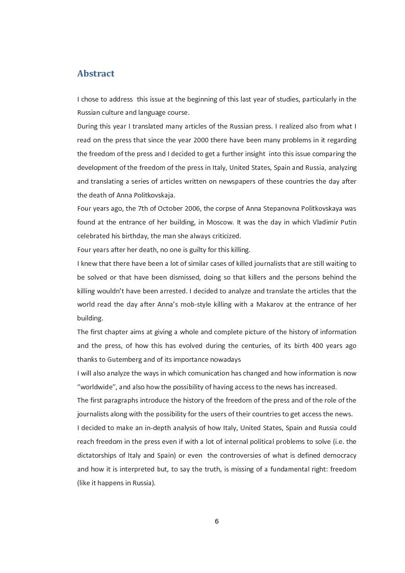 Anteprima della tesi: La libertà di stampa. Il caso di Anna Politkovskaja, Pagina 4