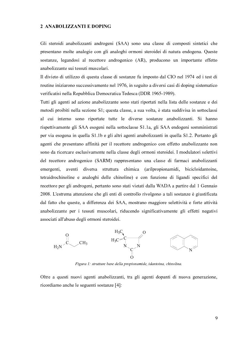 Anteprima della tesi: Agenti dopanti di nuova generazione: strategie analitiche per la determinazione di modulatori selettivi del recettore androgenico (SARM) in fluidi biologici, Pagina 4