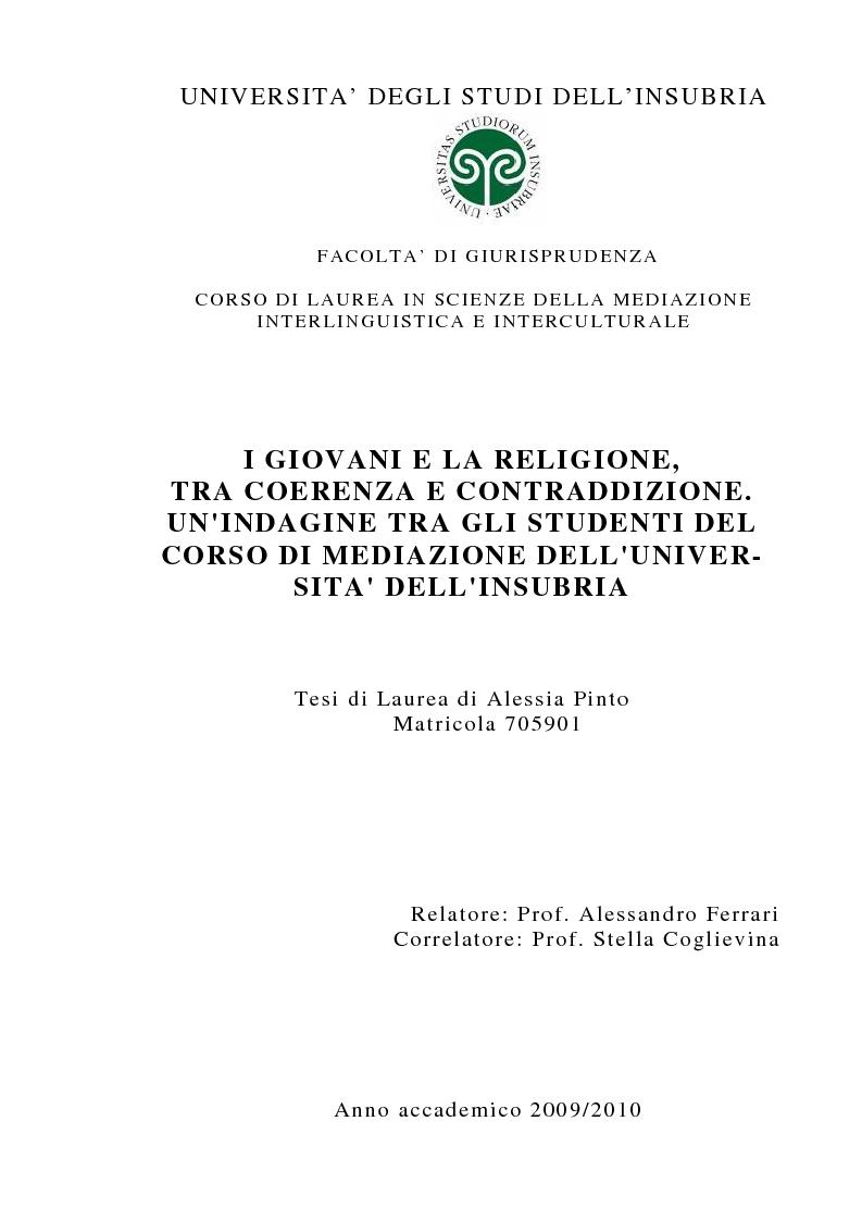 Anteprima della tesi: I giovani e la religione, tra coerenza e contraddizione. Un'indagine tra gli studenti del corso di mediazione dell'Università dell'Insubria., Pagina 1