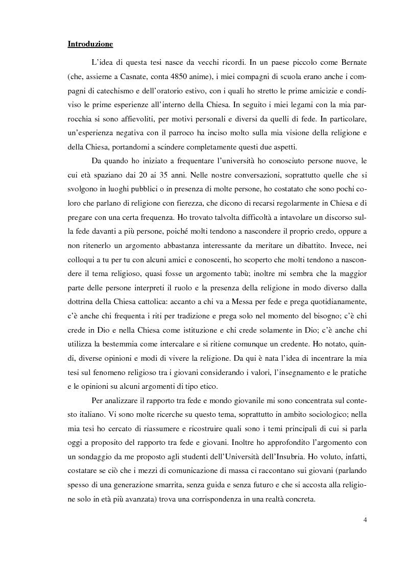 Anteprima della tesi: I giovani e la religione, tra coerenza e contraddizione. Un'indagine tra gli studenti del corso di mediazione dell'Università dell'Insubria., Pagina 2