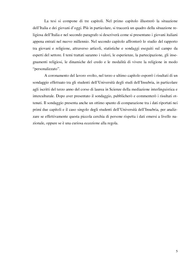 Anteprima della tesi: I giovani e la religione, tra coerenza e contraddizione. Un'indagine tra gli studenti del corso di mediazione dell'Università dell'Insubria., Pagina 3