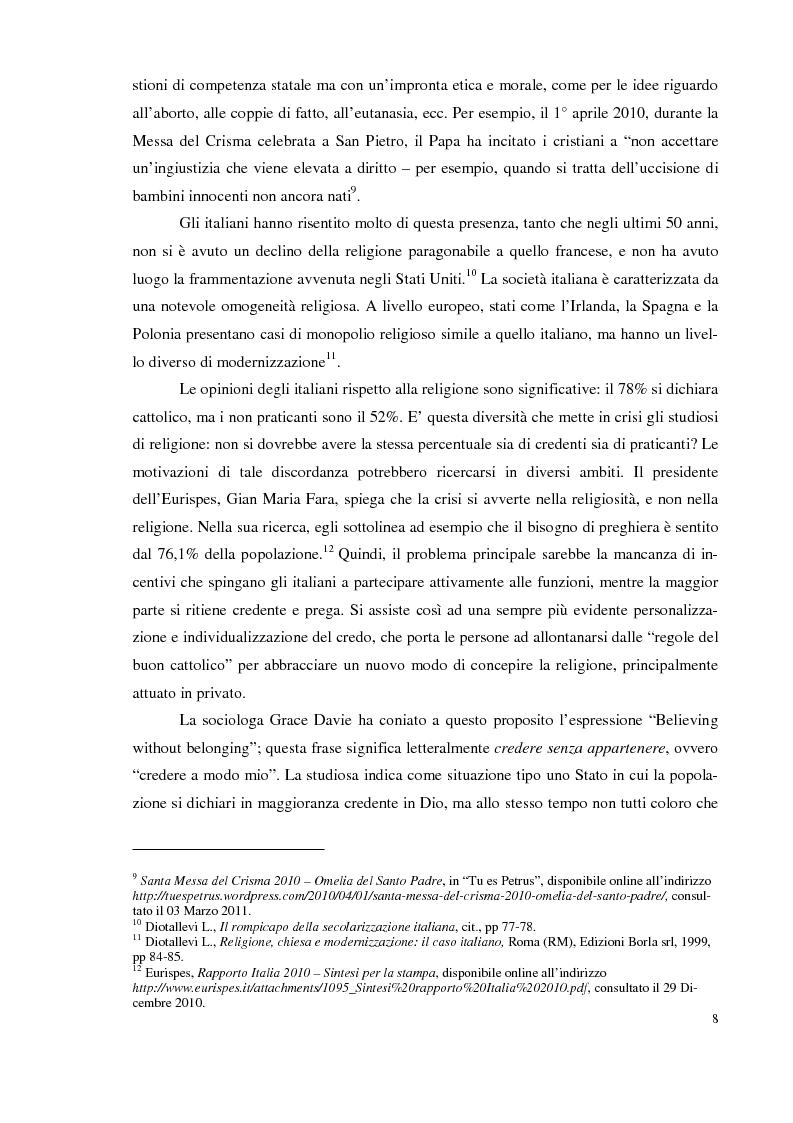 Anteprima della tesi: I giovani e la religione, tra coerenza e contraddizione. Un'indagine tra gli studenti del corso di mediazione dell'Università dell'Insubria., Pagina 6