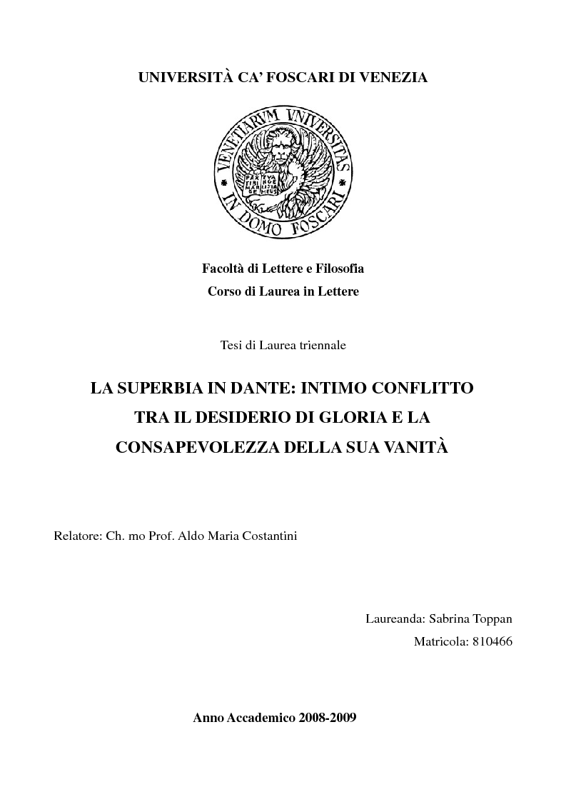 Anteprima della tesi: La superbia in Dante: intimo conflitto tra desiderio di gloria e consapevolezza della sua vanità, Pagina 1