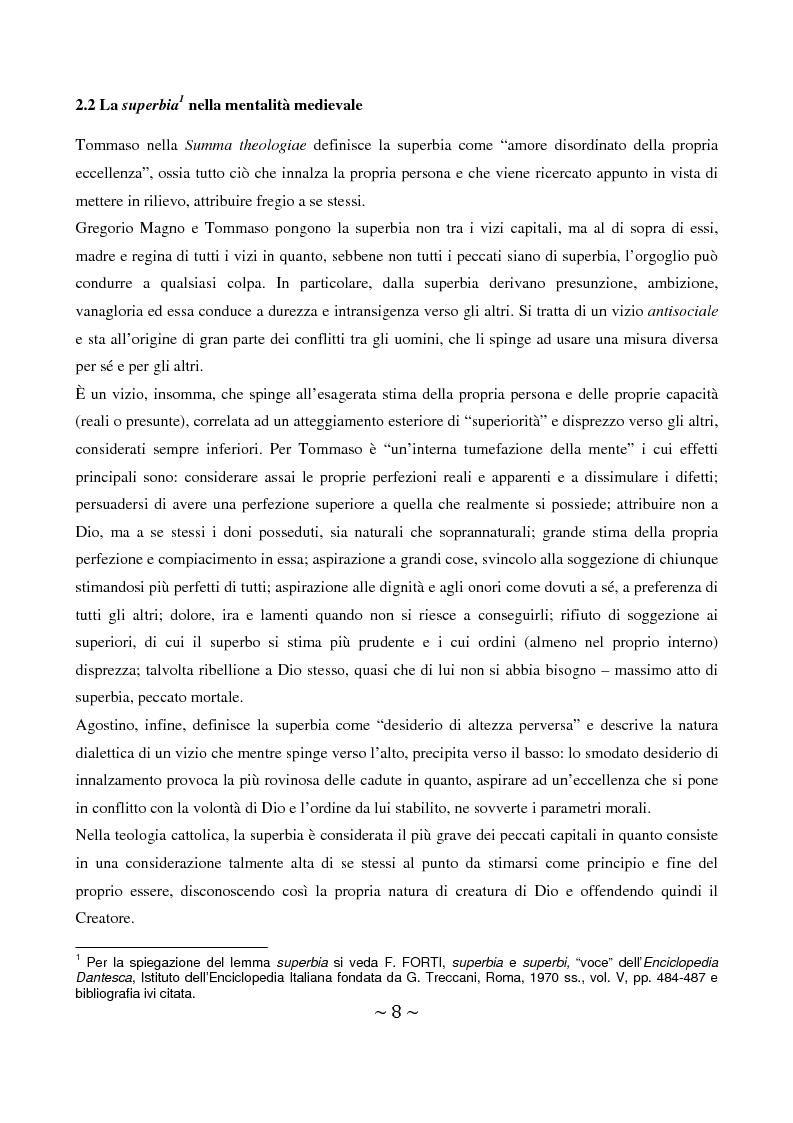 Anteprima della tesi: La superbia in Dante: intimo conflitto tra desiderio di gloria e consapevolezza della sua vanità, Pagina 9