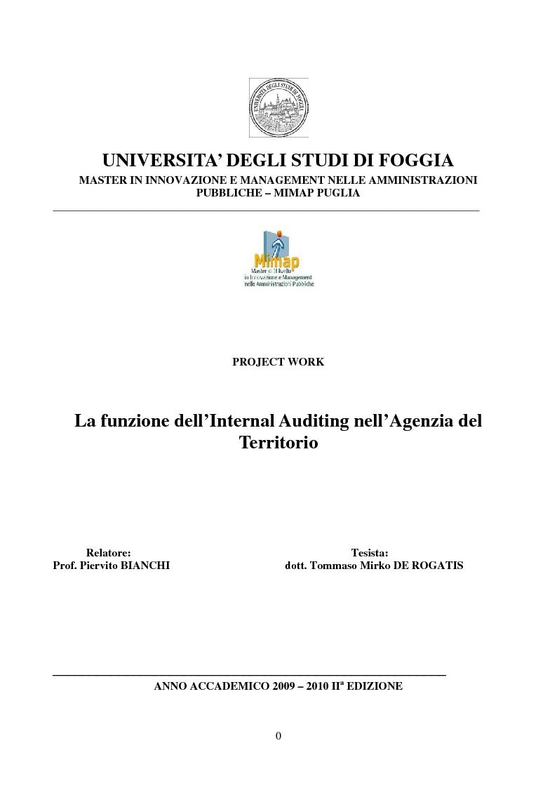 Anteprima della tesi: La funzione dell'Internal Auditing nell'Agenzia del Territorio, Pagina 1