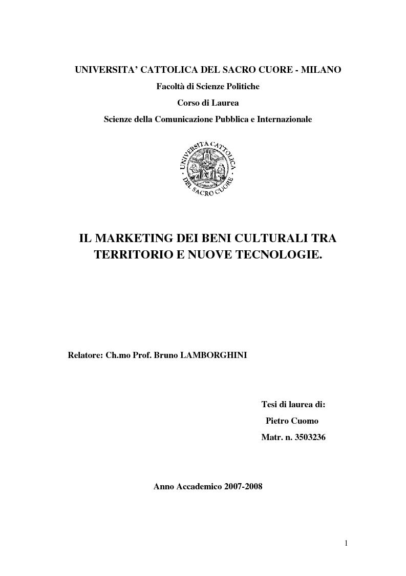 Anteprima della tesi: Il marketing dei beni culturali tra territorio e nuove tecnologie, Pagina 1