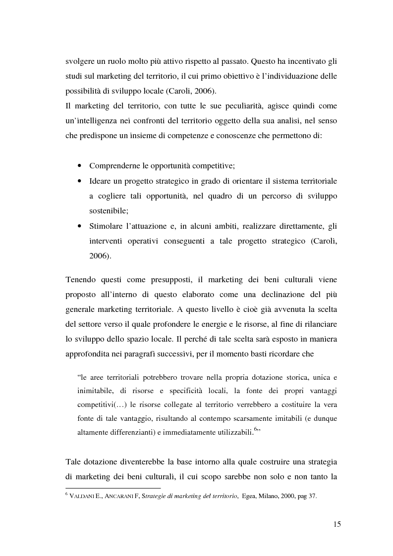 Anteprima della tesi: Il marketing dei beni culturali tra territorio e nuove tecnologie, Pagina 11