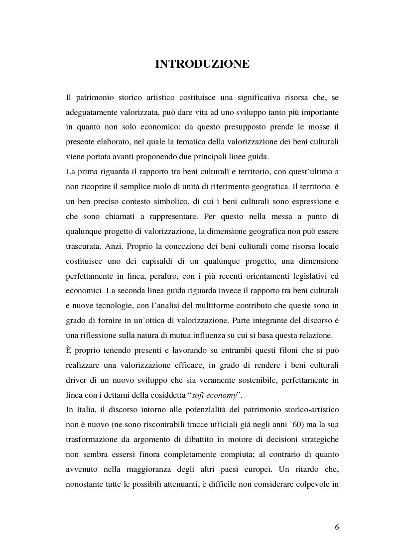 Anteprima della tesi: Il marketing dei beni culturali tra territorio e nuove tecnologie, Pagina 2