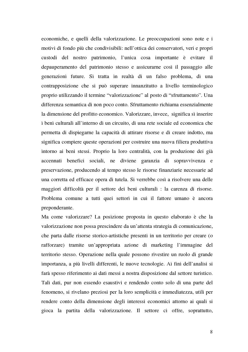 Anteprima della tesi: Il marketing dei beni culturali tra territorio e nuove tecnologie, Pagina 4