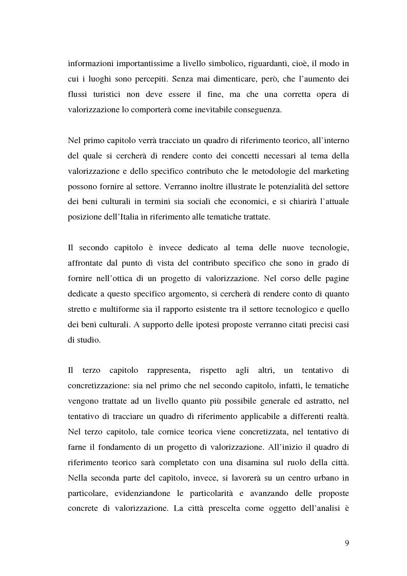 Anteprima della tesi: Il marketing dei beni culturali tra territorio e nuove tecnologie, Pagina 5