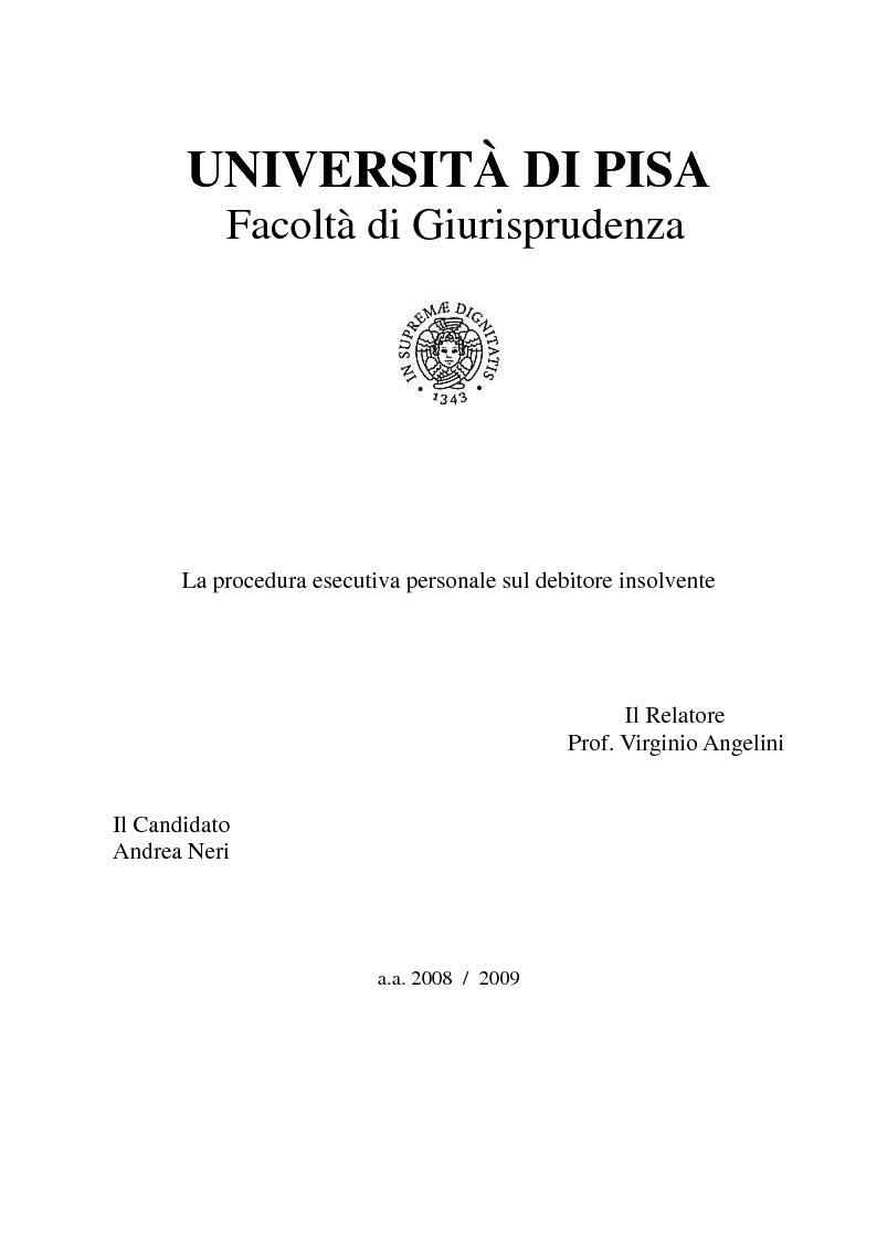 Anteprima della tesi: La procedura esecutiva personale sul debitore insolvente, Pagina 1