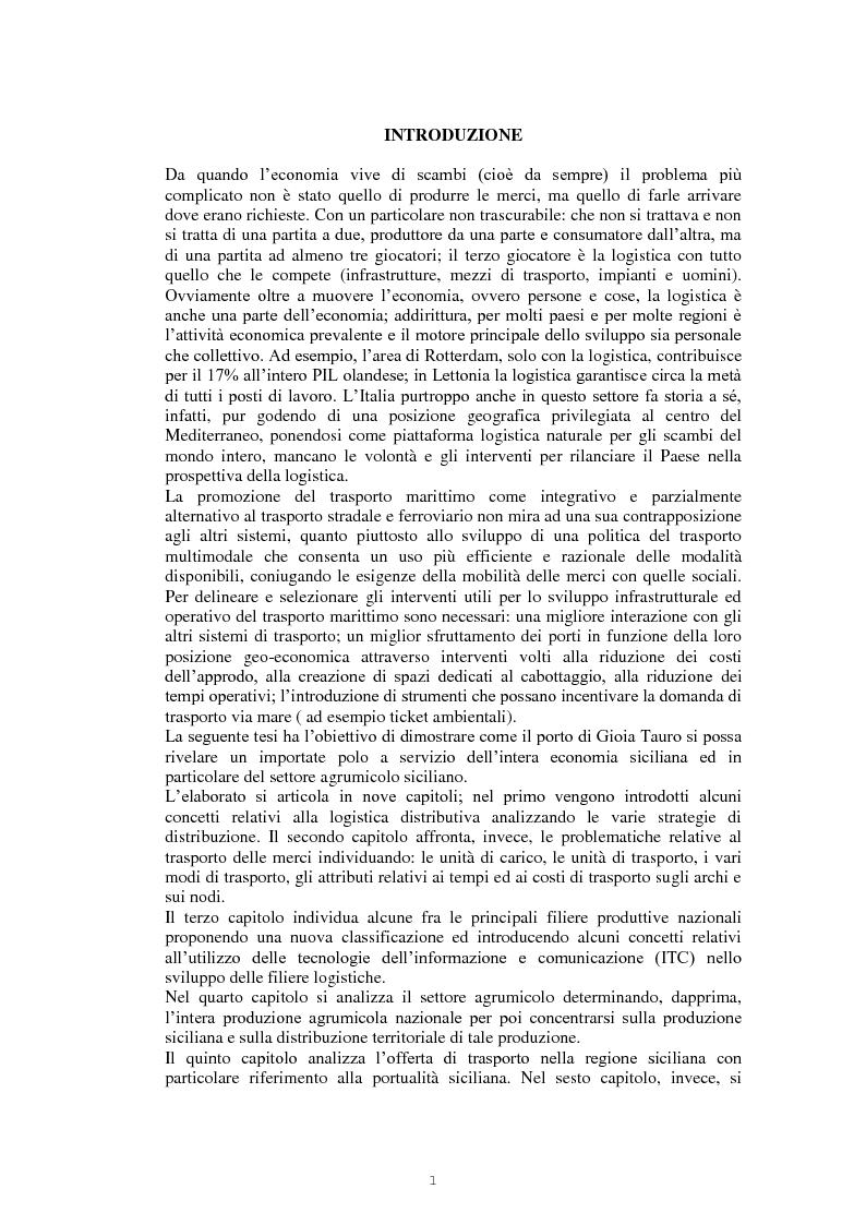 Anteprima della tesi: Il nodo logistico di Gioia Tauro a servizio della Sicilia. Potenzialità e criticità per il settore agrumicolo., Pagina 2