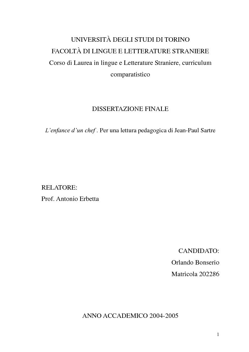 Anteprima della tesi: ''L'enfance d'un chef''. Per una lettura pedagogica di Jean-Paul Sartre, Pagina 1