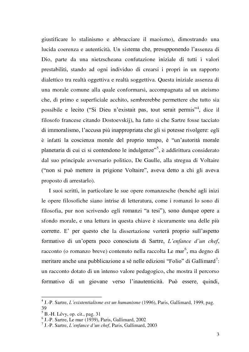 Anteprima della tesi: ''L'enfance d'un chef''. Per una lettura pedagogica di Jean-Paul Sartre, Pagina 3