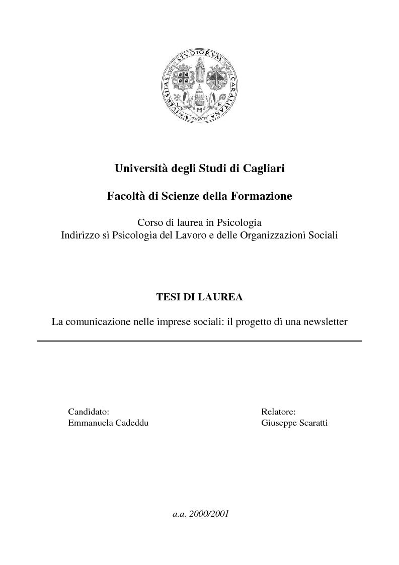 Anteprima della tesi: La comunicazione nelle imprese sociali: il progetto di una newsletter, Pagina 1