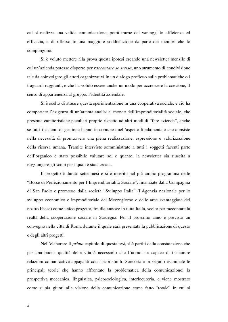 Anteprima della tesi: La comunicazione nelle imprese sociali: il progetto di una newsletter, Pagina 3