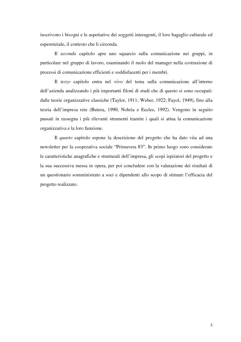 Anteprima della tesi: La comunicazione nelle imprese sociali: il progetto di una newsletter, Pagina 4
