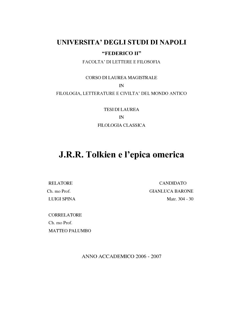 Anteprima della tesi: J.R.R. Tolkien e l'epica omerica, Pagina 1