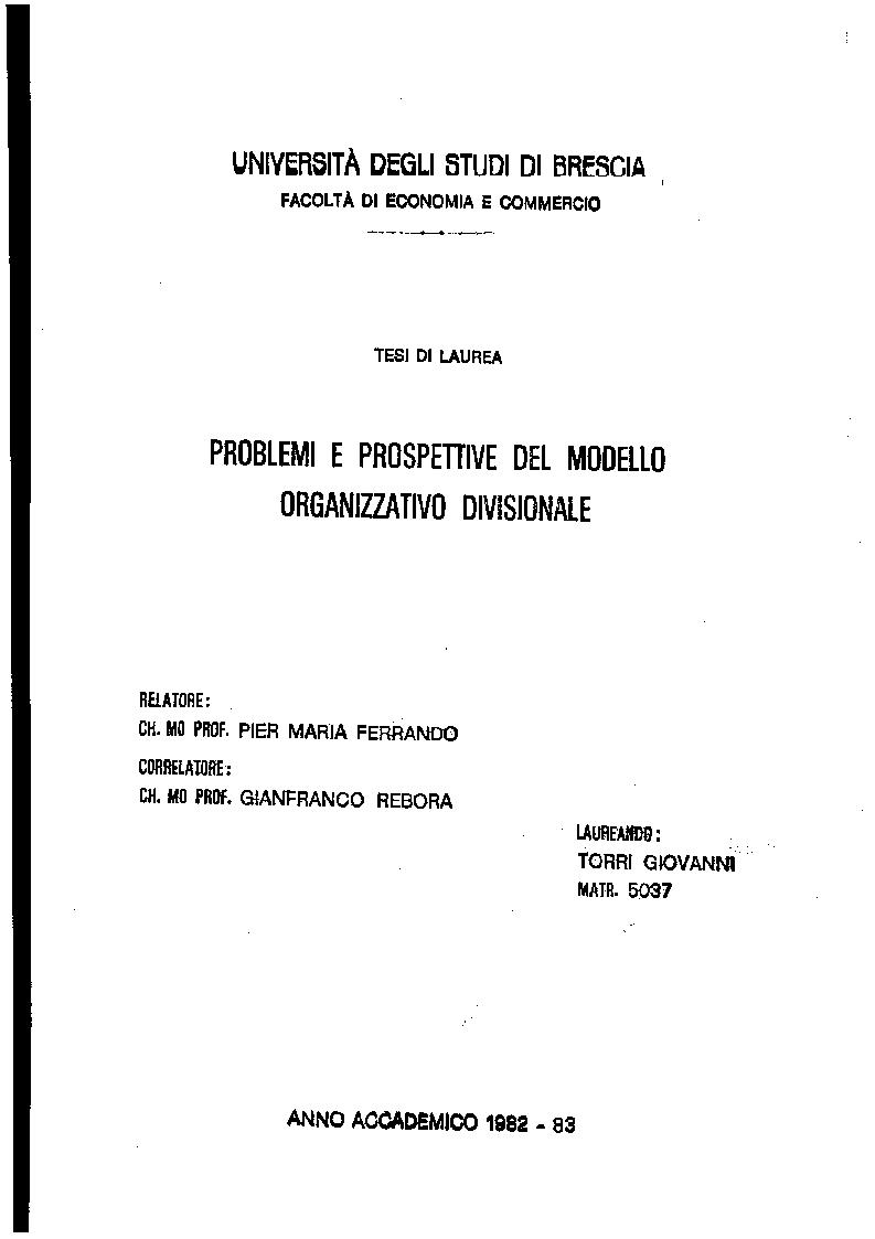 Anteprima della tesi: Problemi e prospettive del modello organizzativo divisionale, Pagina 1