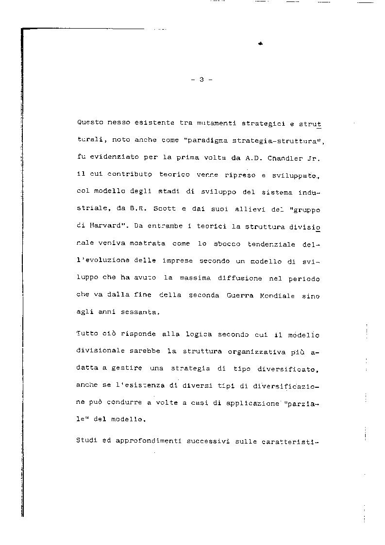 Anteprima della tesi: Problemi e prospettive del modello organizzativo divisionale, Pagina 4