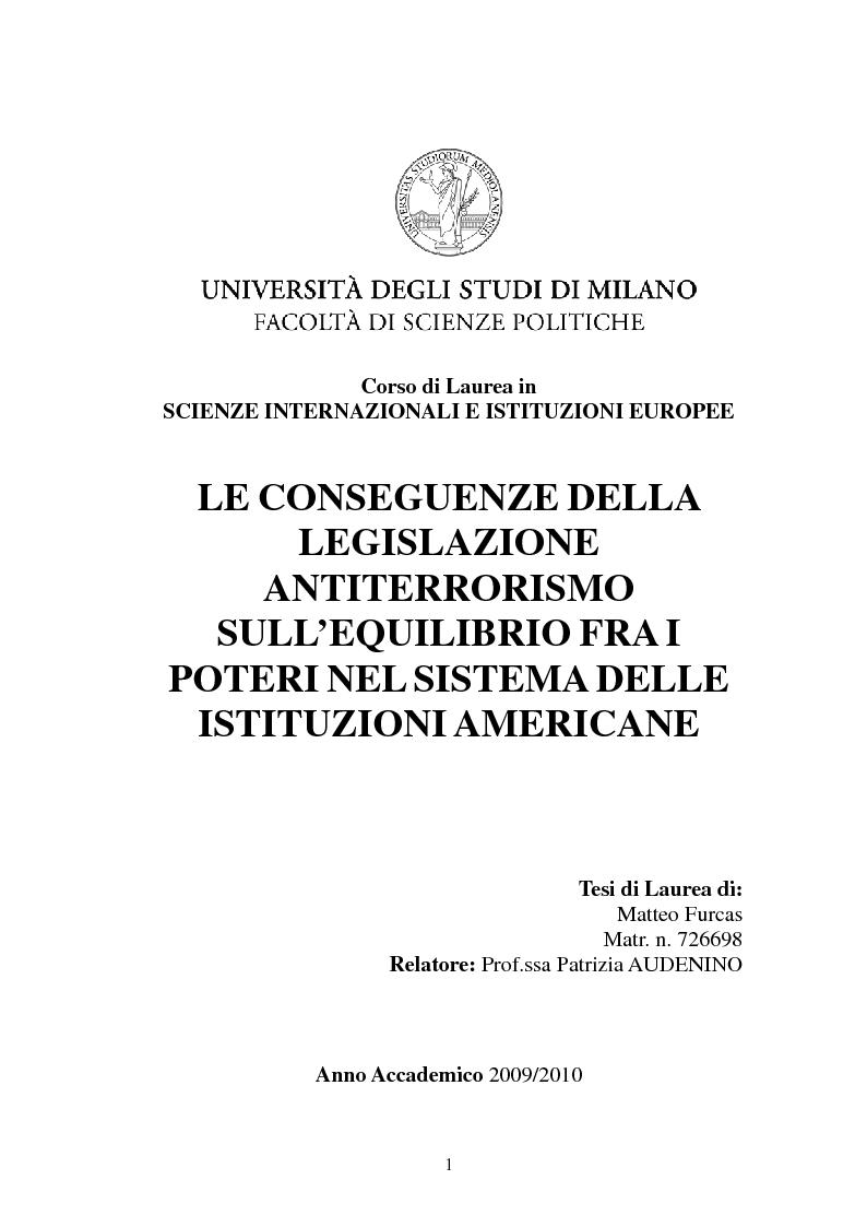 Anteprima della tesi: Le conseguenze della legislazione antiterrorismo sull'equilibrio tra i poteri nel sistema delle istituzioni americane., Pagina 1