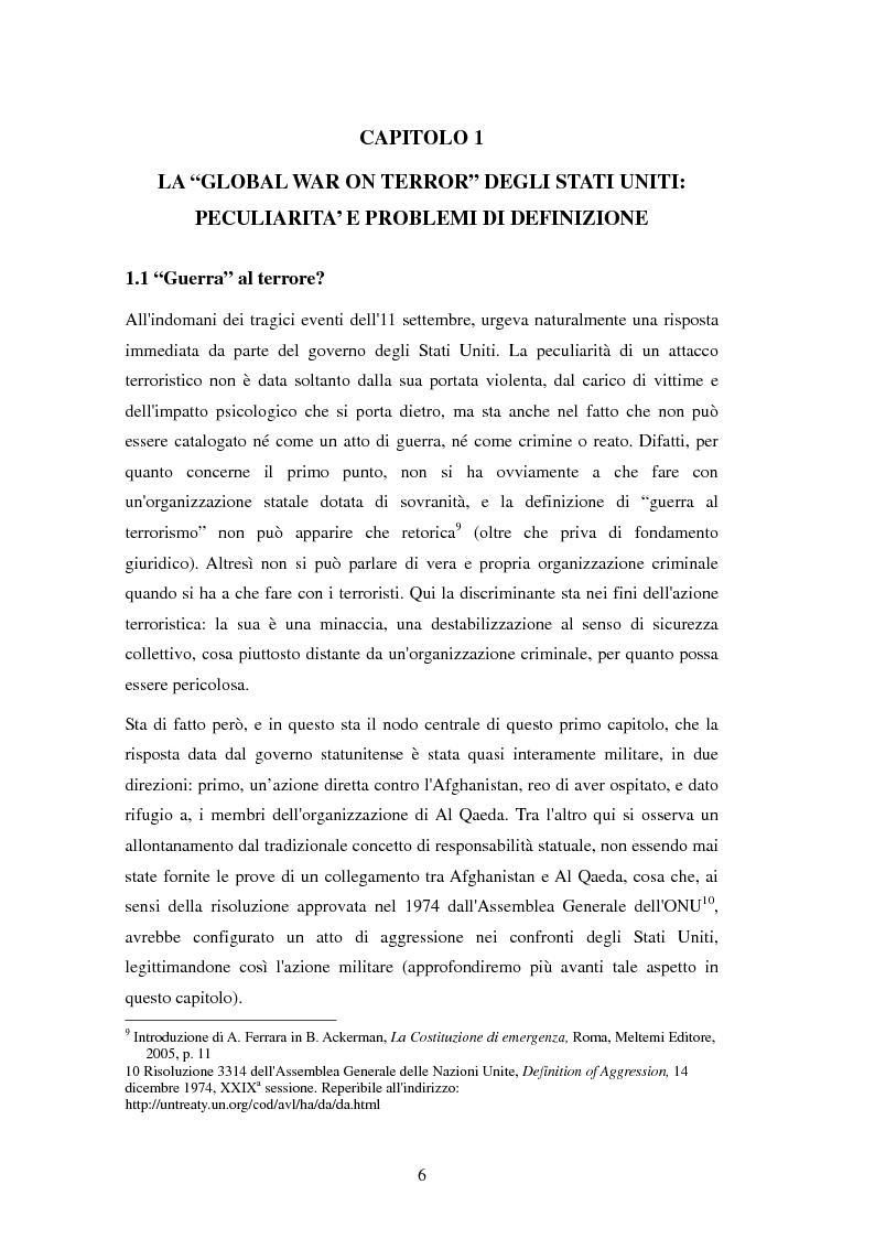 Anteprima della tesi: Le conseguenze della legislazione antiterrorismo sull'equilibrio tra i poteri nel sistema delle istituzioni americane., Pagina 2