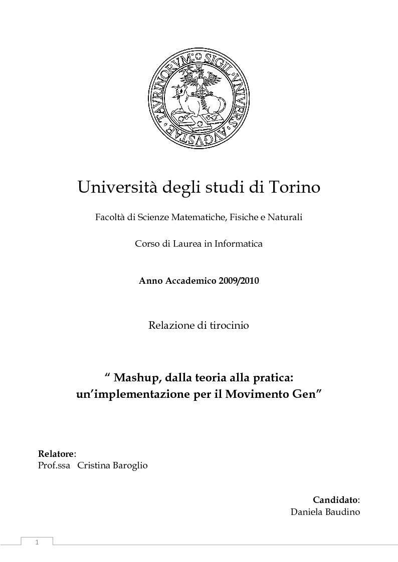 Anteprima della tesi: Mashup, dalla teoria alla pratica: un'implementazione per il Movimento Gen, Pagina 1