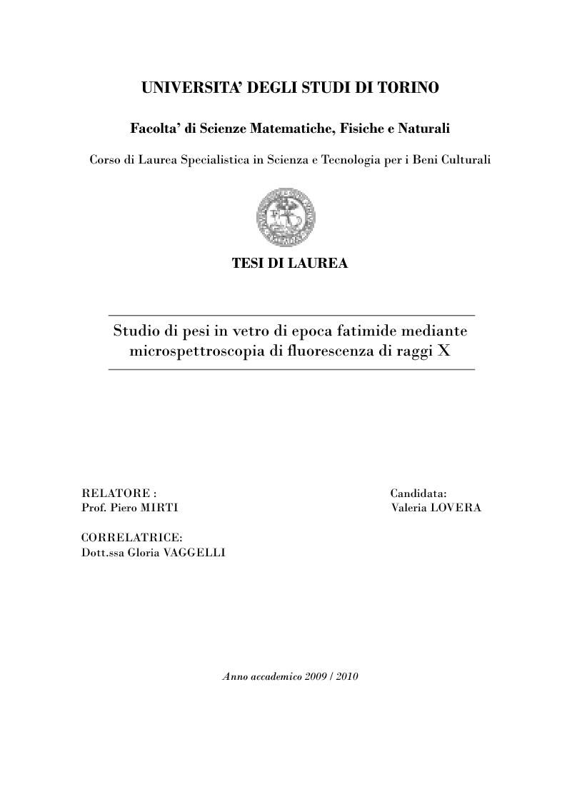 Anteprima della tesi: Studio di pesi in vetro di epoca fatimide mediante microspettroscopia di fluorescenza di raggi X, Pagina 1