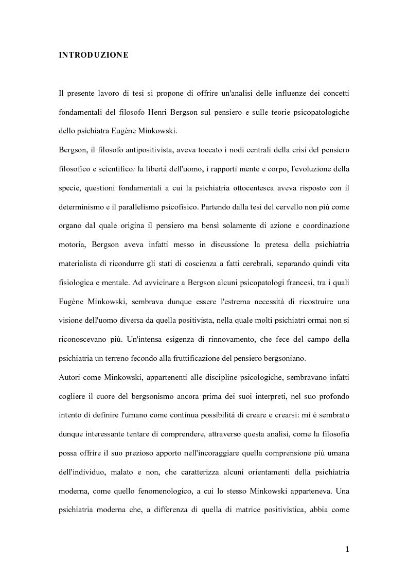 Anteprima della tesi: Influenze di Henri Bergson nella psichiatria di Eugène Minkowski, Pagina 2