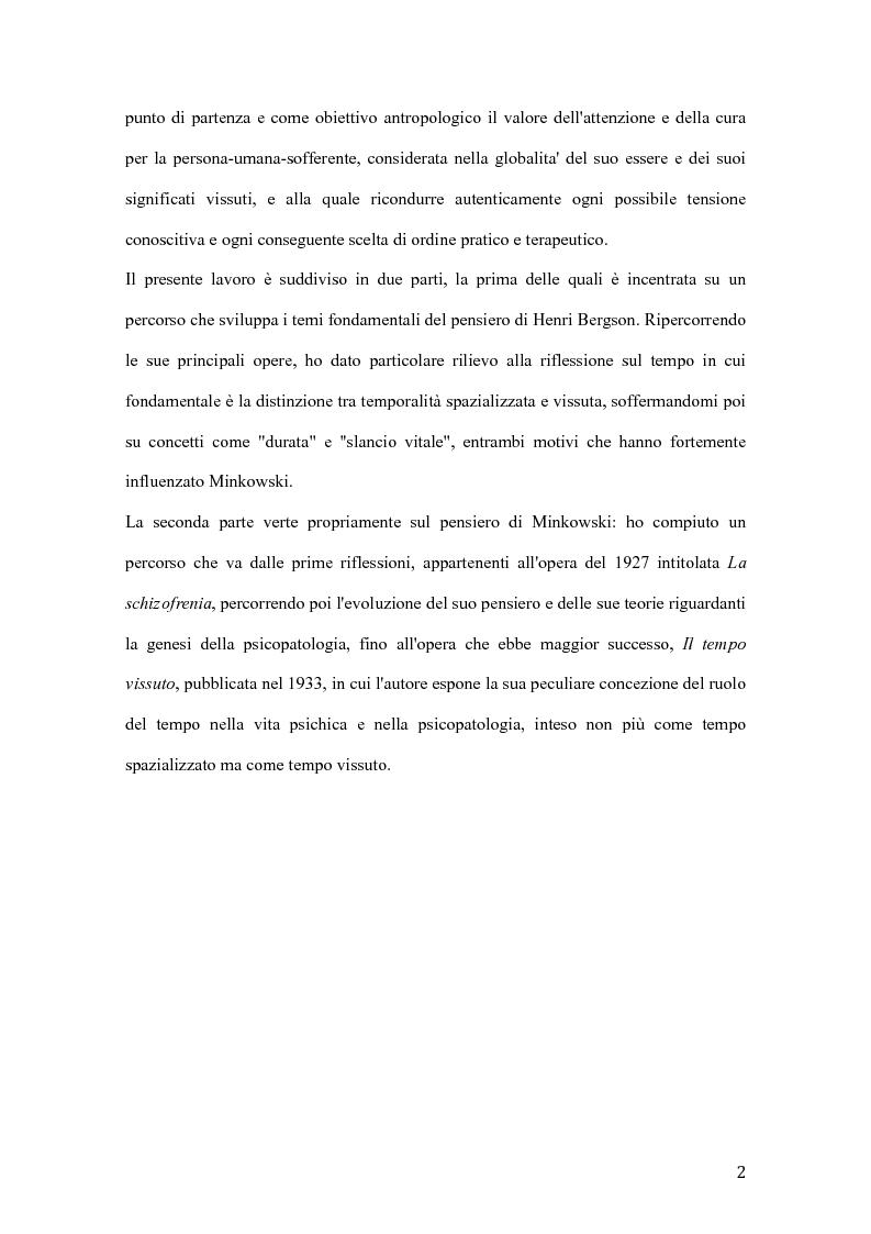Anteprima della tesi: Influenze di Henri Bergson nella psichiatria di Eugène Minkowski, Pagina 3
