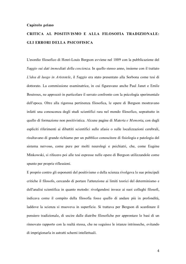 Anteprima della tesi: Influenze di Henri Bergson nella psichiatria di Eugène Minkowski, Pagina 5
