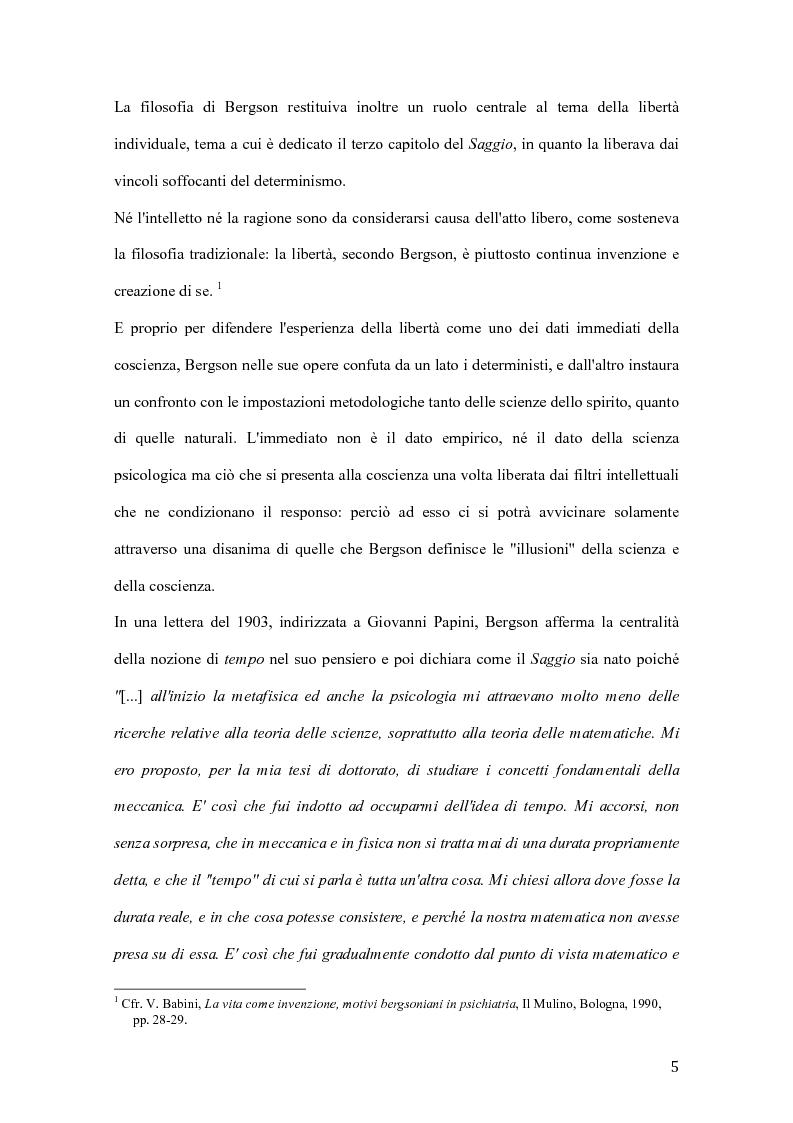 Anteprima della tesi: Influenze di Henri Bergson nella psichiatria di Eugène Minkowski, Pagina 6