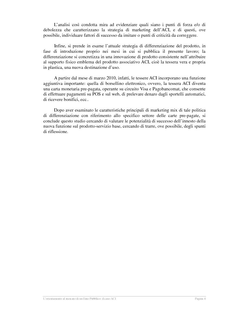 Anteprima della tesi: L'orientamento al mercato di un Ente Pubblico: il caso ACI, Pagina 3